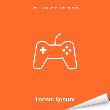 Orange banner with game pad icon Vector illustration.