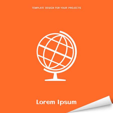 Oranje banner met wereldbol icoon