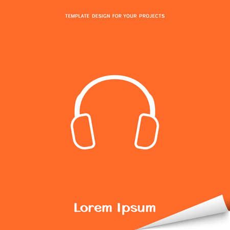 Orange banner with earphones icon