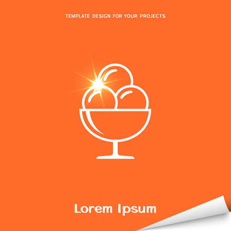 Orange banner with ice cream icon Illustration