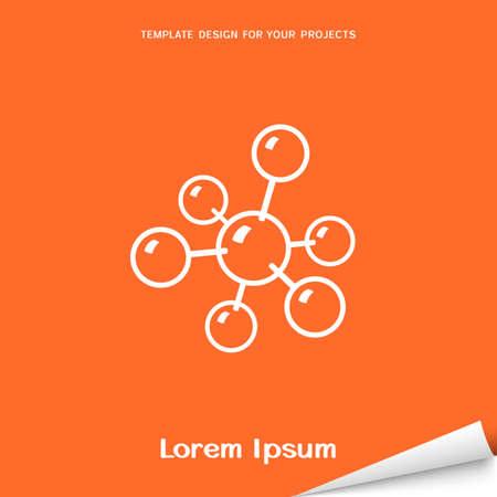 Orange banner with molecular model icon