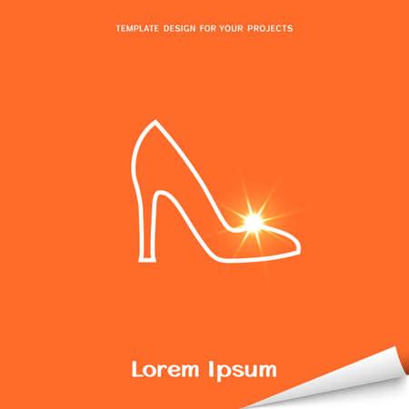 Orange banner with spike heels shoe icon