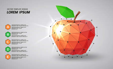 Low poly red apple on gray background Illustration