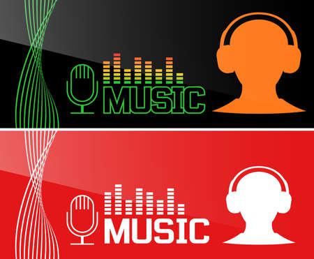 Music banner design. Vector illustration Illustration