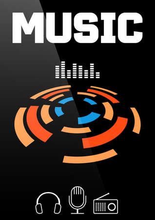 Music banner or brochure cover design. Vector illustration
