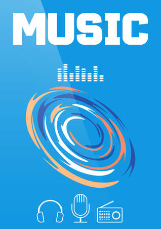 Music banner or brochure cover design. Vector illustration.
