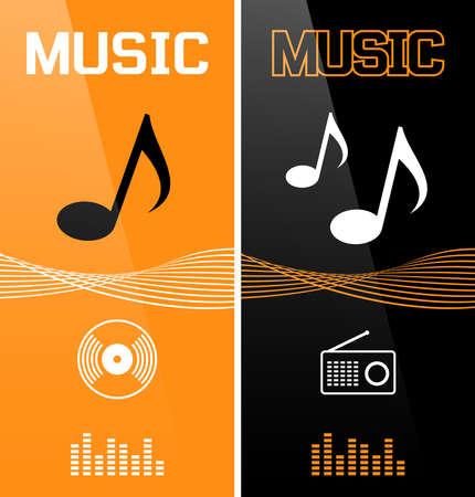Music banner or flyer design. Vector illustration.
