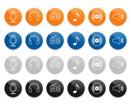 Music line icons set. Vector illustration