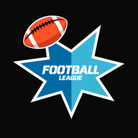 Banner or emblem design with American Football ball icon and star shape. Vector illustration