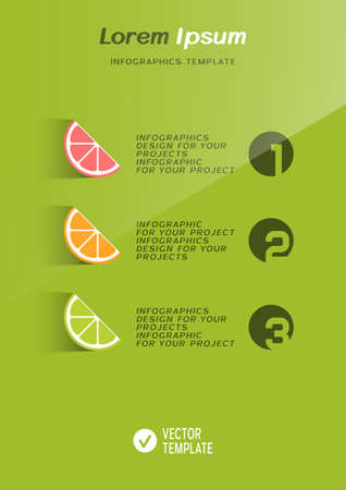 Brochure cover or web banner design with citrus fruit icons. Vector illustration