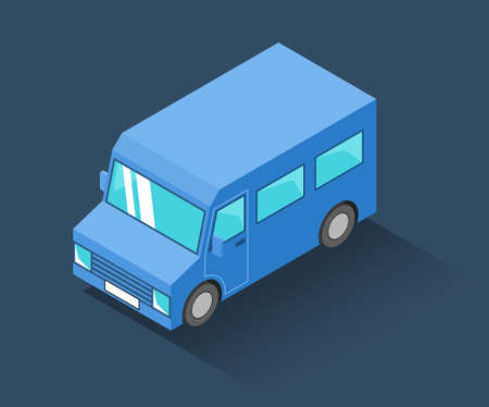 Blue isometric minibus icon. Vector illustration Stock Vector - 107869216