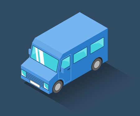 Blue isometric minibus icon. Vector illustration Illustration