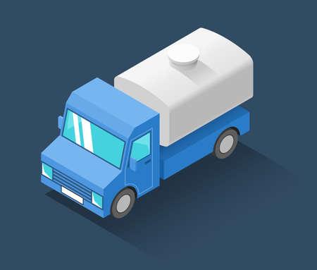 Tank truck isometric icon. Vector illustration Vetores