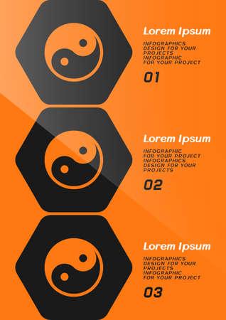 Brochure or web banner design with Yin Yang symbol. Vector illustration