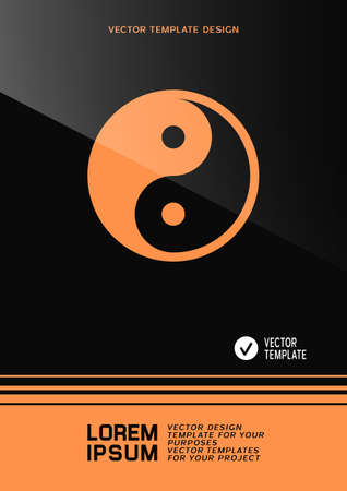 Brochure or web banner design with Yin Yang symbol. Vector illustration