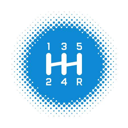 Gearshift icon on half tone round shape. Vector illustration Illustration
