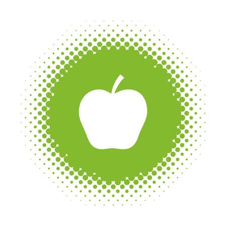 Apple silhouette on half tone round shape. Vector illustration Stock Vector - 125610107