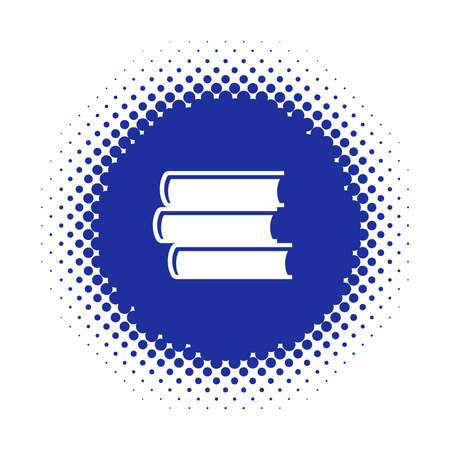 Icono de pila de libro en forma redonda de semitono. Ilustración vectorial