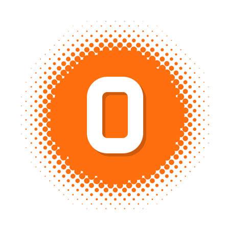 Number zero on halftone round shape. Vector illustration Çizim