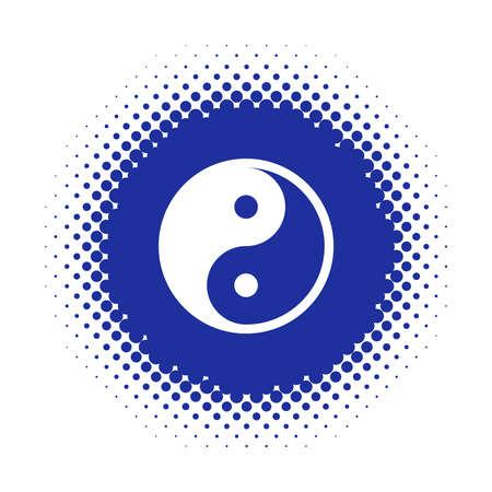 Yin Yang symbol on halftone round shape. Vector illustration