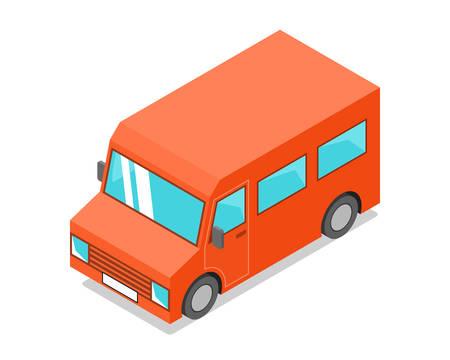 Orange isometric minibus icon. Vector illustration