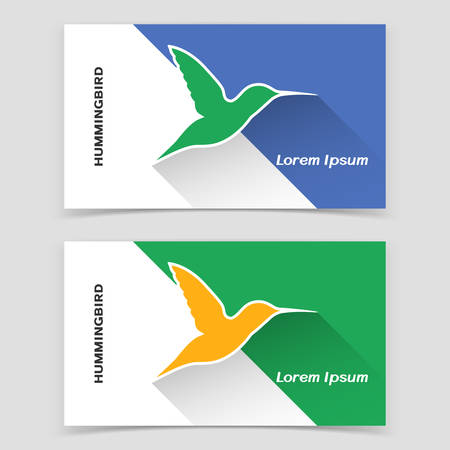 Visiting business card template or web banner design with humming bird icon