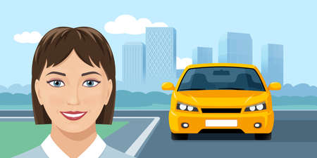 Smiling young woman and yellow car on city background. Vector web banner design