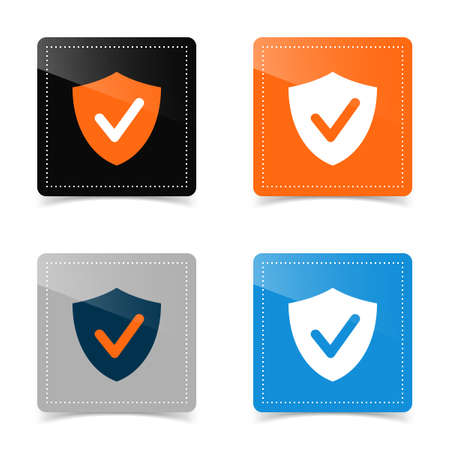 Web icons of shield and check mark. Vector illustration