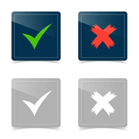 Web icons of check mark and cross. Vector illustration