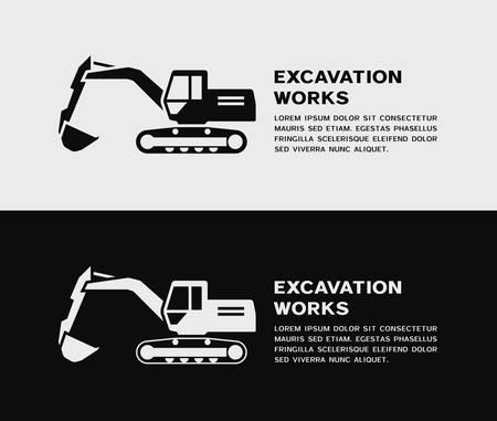 Black and white excavator icon. Vector illustration