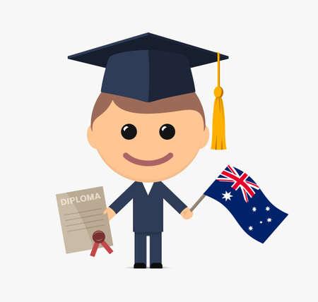 Cartoon graduate with graduation cap holds diploma and flag of Australia. Vector illustration 向量圖像