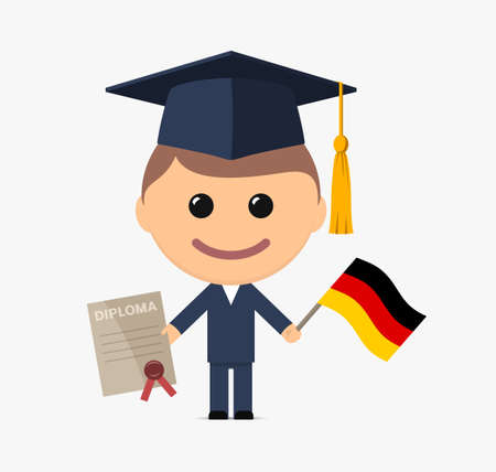 Cartoon graduate with graduation cap holds diploma and flag of Germany. Vector illustration Vettoriali