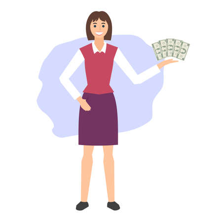 Smiling young woman holds money. Business concept. Flat design. Vector illustration