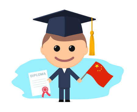 Cartoon graduate with graduation cap holds diploma and flag of China. Vector illustration