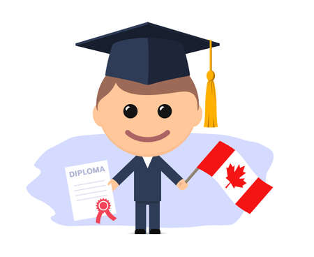 Cartoon graduate with graduation cap holds diploma and flag of Canada. Vector illustration Ilustrace
