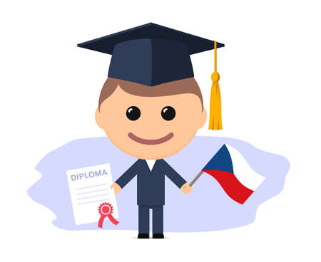 Cartoon graduate with graduation cap holds diploma and flag of Czech Republic. Vector illustration
