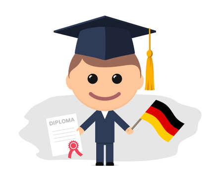 Cartoon graduate with graduation cap holding diploma and flag of Germany. Vector illustration