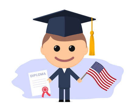 Cartoon graduate with graduation cap holding diploma and flag of the USA. Vector illustration
