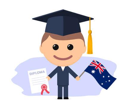 Cartoon graduate with graduation cap holding diploma and flag of Australia. Vector illustration