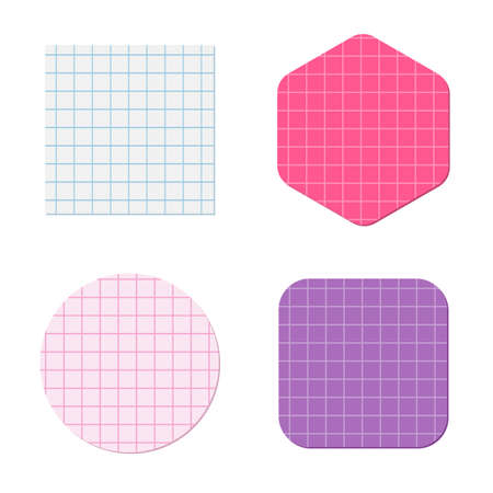 Geometric shapes cut out of squared graph paper. Vector illustration