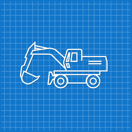 Blue banner with excavator icon. Vector illustration