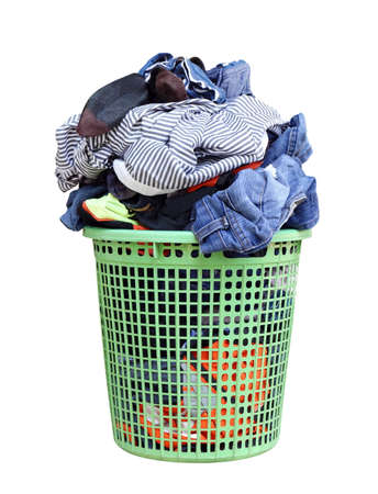 pile of dirty laundry in a washing basket, laundry basket with colorful towel, basket with clean clothes, colorful clothes in a laundry basket on white background