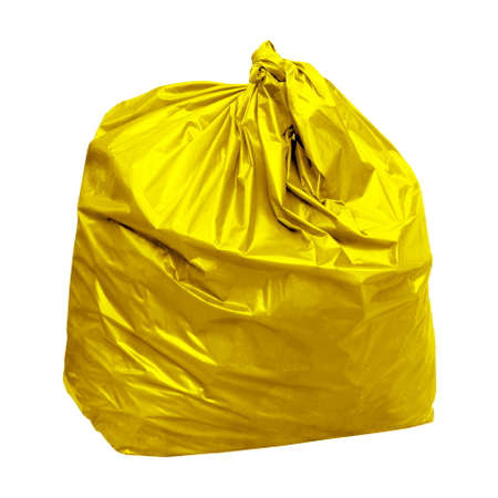 yellow garbage bag with concept the color of yellow garbage bags is recyclable waste (isolated on white background)