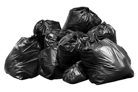 śmieci worek na śmieci, kosz, kosz, śmieci, śmieci, stos worków plastikowych na białym tle na białym tle