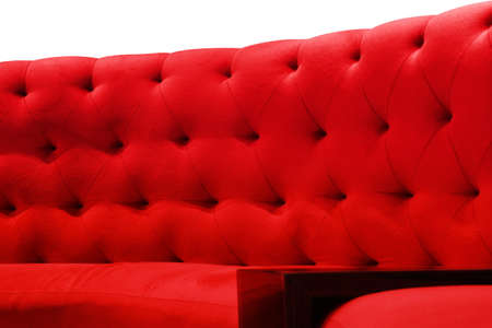 Luxury red sofa velvet cushion close-up pattern background on white