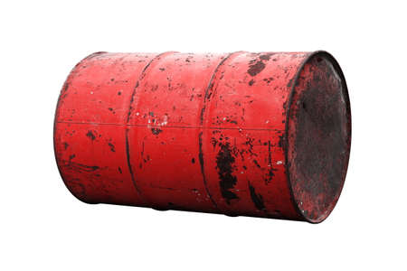 Barrel Oil red Old isolated on background white Banco de Imagens