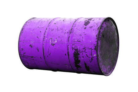 Barrel Oil purple Old isolated on background white Stockfoto