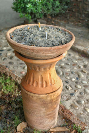 Ashtray cigarette ceramic clay on street ground garden, Smoking, Danger ashtray heart and health