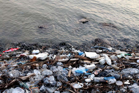 Waste seaside Pollution, Garbage on beach, Waste trash in river, Toxic waste, Wastewater, Dirty water in river