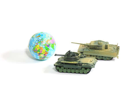 Toys Tank plastic as World War on white background, War, fight army soldier tank Sample picture or War scenario concept Imagens